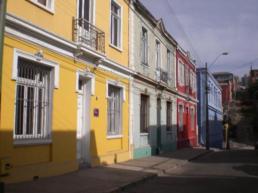 Valparaiso, huisjes gekleurd