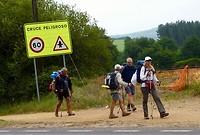 steeds meer wandelaars, allemaal op weg naar Santiago de Compostela