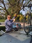 Martin heeft zijn racefiets in de boom geparkeerd