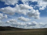 Mooie wollige wolken / lunchplek