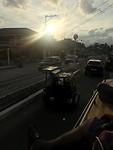 Op de jeepney met de zonsondergang