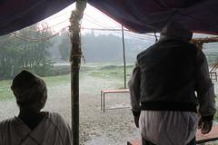 einde festival: hagel en onweer