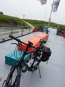 Het veerbootje vlakbij Millingen voor mezelf alleen...(inclusief Captain Iglo pontwacht)