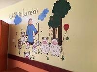 Weid Mijn Lammeren schilderij op de muur