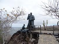 Charles Darwin statue bij een snorkelplek