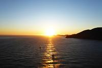 Zonsondergang vanaf de Golden Gate