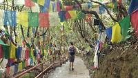 Weg naar beneden vanaf een tempel, Kathmandu Valley