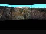 De Vøringfossen waterval vanuit een helicopter gezien.