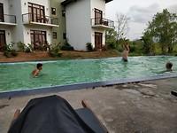Het zwembad met groen water