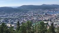 Uitzicht vanaf de berg Fløyen in Bergen