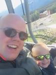 Papa en Jens samen in de kabelbaan!