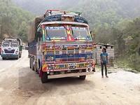 On the road to KTM:  'rangi sangi' trucks   (colorful trucks)