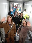 Departure Brussels Airport: boarding the airplane in onesies (after a bet with team member Pieter