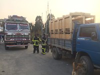 Training Day 5: loading of the donated material for transfer to destination