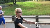 Girl cycling in Central Park