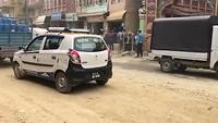 Crossing the road in Kathmandu