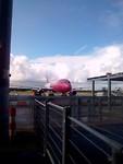 De roze wizzair staat klaar