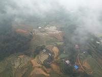 Terrassen met rijst vanuit de kabelbaan
