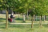 Vertrek van het peloton, nu al fietslengtes voor!