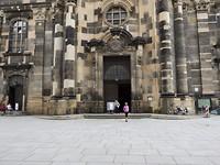 De kerk in Dresden met een aangrijpende fototentoonstelling over de jaren 1939 - 1949