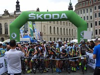 Start wielerkoers in Dresden