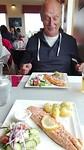 Zalm in restaurant nabij gletsjermeer