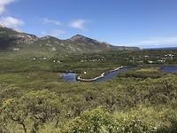 Uitzicht op Tidal River vanaf wandeling op berg