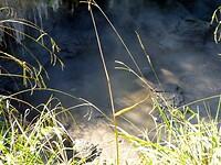 zwavelrook komt spontaan uit de grond