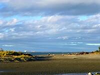 zicht op de Tasman Bay bij eb