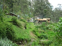 Huizen in de buurt van de waterval