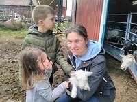 Goat-hugging on the goat-farm.