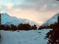 Avondglorie op de bergen