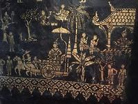 Mooie wand beschildering in de tempel