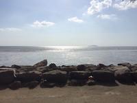 Uitzicht op zee vanuit Pontian Kecil.