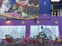 Muurschildering in Singapore.