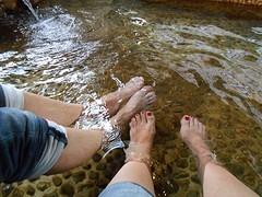 Heerlijk even chillen in het voetenbad.