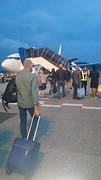 Lopend over het vliegveld naar het toestel.