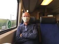 Leo in de trein van Almelo naar Gouda