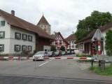 op de grens tussen Zwitserland en Duitsland