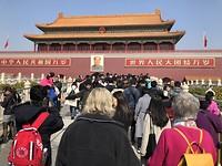 Toegang tot de Verboden Stad met Mao op de muur