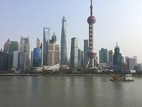 Bij daglicht, de skyline van Shanghai