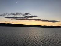 Ondergaande zon op de boot