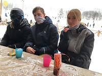 Emilia, Tindra en Huib onderaan de piste