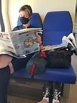 in de trein terug naar huis