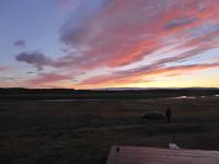 Beautiful sunset at the hut