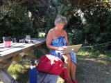 Janny aan het schrijven(typen)