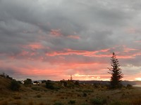 Zonsondergang bij de camping