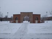 Campus in de sneeuw
