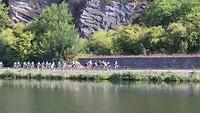 fietsers langs de Maas, Belgie