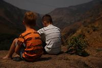 De jongens geneten ook van het uitzicht